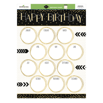 Glimmer of Gold Collection, Customizable Happy Birthday Chart, 17 x 22 Inches, 1 Piece