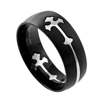 Spirit & Truth, Removable Double Cross, Men's Ring, Black and Stainless Steel