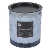 Darsee & Davids, Bamboo & Birch Diamond Patterned Jar Candle, Blue, 10.6 ounces