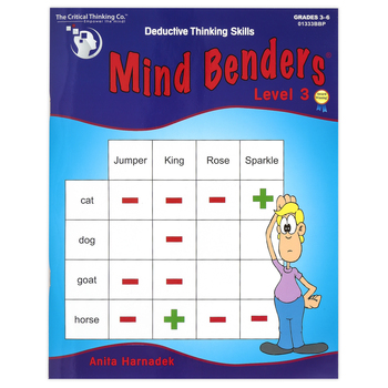 Critical Thinking Company, Mind Benders Level 3 Book, Reproducible Paperback, 48 Pages, Grades 3-6