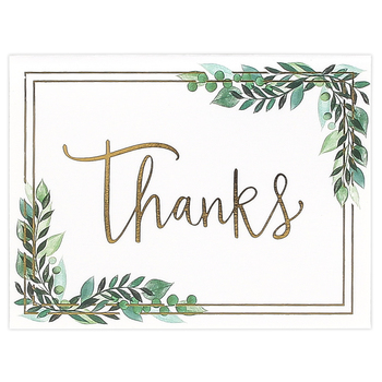 Brother Sister Design Studio, Eucalyptus Leaves Thank You Note Cards, 10 Cards with Envelopes