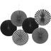 Brother Sister Design Studio, Multi-Design Paper Fans, Black, 6 Count, 14 inches