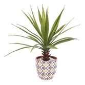 Artificial Yucca in Terra Cotta Pot, 16 3/4 x 18 inches