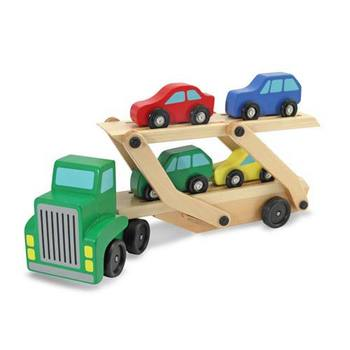 Melissa & Doug, Wooden Car Carrier and Truck Set,  Ages 3 to 6 Years Old, 5 Pieces