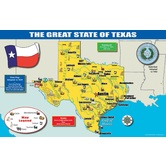 Gallopade, Texas Map Chart, 17  x 11 Inches, Multi-Colored, 1 Piece