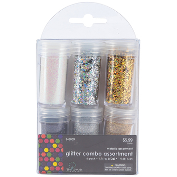 Tree House Studio, Light Metallic Mix Glitter Pack, Assorted Colors, 6 Count