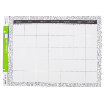 Renewing Minds, Black Dots on White Customizable Calendar Chart, 22 x 17 Inches, Black and White, 1 Each