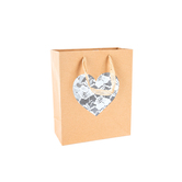 Medium Gift Bag with Lace Cut-Out Heart, Brown, 4 /12 x 9 1/2 x 11 1/2 inches