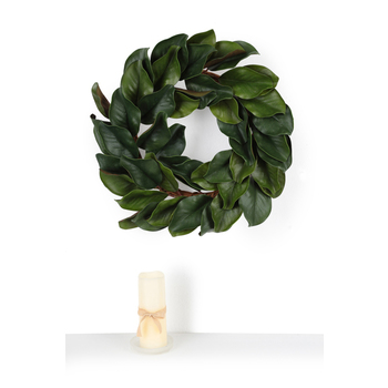 Magnolia Leaves Wreath, Polyester, Green, 23 inches in diameter