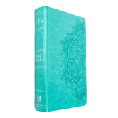 KJV Personal Size Reference Bible, Large Print, Duo-Tone, Teal, Thumb Indexed
