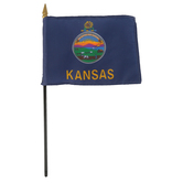Annin & Company, Kansas State Flag with Rod, 4 x 6 Inches, Multi-Colored, 1 Pieces