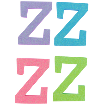 Glitter Foam Alphabet Letter Upper Case - Z, 4 x 5.5 x .50 Inches, 1 Each, Assorted Colors