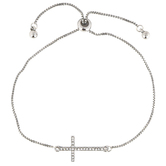 Modern Grace, Horizontal Cross Slide Bracelet, Zinc Alloy, Silver