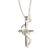 Dicksons, Cross with Sash and Cubic Zirconia Necklace, Silver Plated, 18 inches