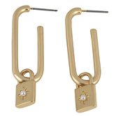 Mercy Adorned, Proverbs 3:13-14 Hoop with Lock Charm Dangle Earrings, Zinc Alloy, Brushed Gold