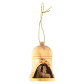Logos Trading Post, 3D Holy Land Nativity Bell Ornament, Olive Wood, 1 3/4 x 2 3/4 x inches
