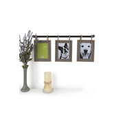Green Tree Gallery, Pipe Collage Frame, Metal and Wood and Rope, 10 5/8 x 26 1/2 inches