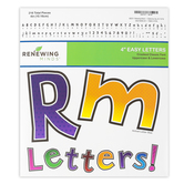 Renewing Minds, Dots and Chevron Bulletin Board Letters, Upper and Lowercase, 4 Inches, Assorted Colors, 216 Pieces