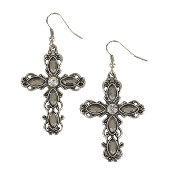 Modern Grace, Cross with Crystal Center Dangle Earrings, Zinc Alloy, Burnished Silver and Black