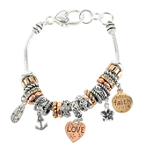 Oori Trading, Faith Hope Love Charm Bracelet, Silver and Gold