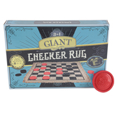 Brybelly, Giant 3-in-1 Checkers & Mega Tic Tac Toe Reversible Rug, 26 x 26 inches