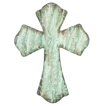 Swirl Embossed Wall Cross, Metal, Turquoise Green, 9 3/4 x 7 1/4 inches