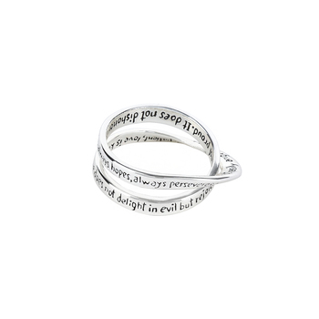 Dicksons, InspiRing, 1 Corinthians 13 Double Mobius, Women's Ring, Silver Plated, Sizes 6-9