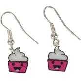 Glitter and Grace, Smiling Cupcake Dangle Earrings, Zinc Alloy, Silver