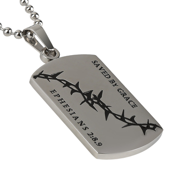 Spirit & Truth, Ephesians 2:8-9, Saved By Grace Crown of Thorns Dog Tag, Men's Necklace, Stainless Steel, 24 Inches