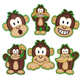 Monkeys Assorted Cutouts, 6 Each of 6 Designs, 36 Pieces