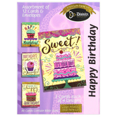 Divinity Boutique, Cakes & Cupcakes Birthday Boxed Cards, 12 Cards with Envelopes