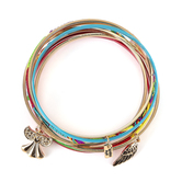 Radiant Sol, Guardian Angel Bangle Bracelet Set, Iron and Nylon, Assorted Colors, 6 Pieces