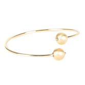 His Truly, Beaded Bangle Bracelet, Zinc Alloy, Shiny and Brushed Gold