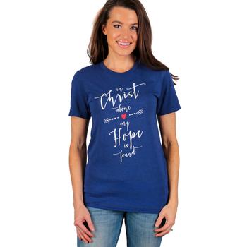 NOTW, In Christ Alone, Short Sleeve Women's T-Shirt, Navy Blue, XS-2XL