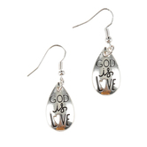 Bella Grace, God is Love Dangle Earrings with Cut Out, Silver, Zinc Alloy