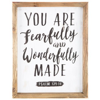 Wonderfully Made Framed Wall Plaque, MDF Wood, 11 x 14 inches