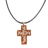 Faith Spark, Weaved Metallic Bead Cross Cord Necklace, Polyester and Glass and Iron, Black and Brown, 24 Inch Cord
