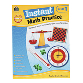 Teacher Created Resources, Instant Math Practice Workbook, Reproducible Paperback, 144 Pages, Grade 1