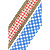 Renewing Minds, Double-Sided Border Trim, 38 Feet, Red Gingham with Burlap and Blue Gingham Check