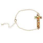 Faith in Bloom, Large Floral Cross Bracelet, Zinc Alloy, Gold
