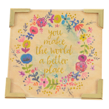 Natural Life, You Make The World A Better Place Corner Magnet, 2 1/2 x 2 1/2 inches