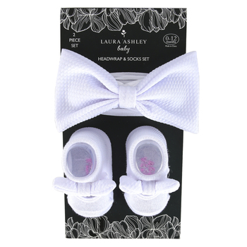 Laura Ashley, Baby Bow Headwrap & Sock Set, White, 0-12 Months, 2 Pieces