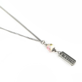 H.J. Sherman, Blessed Charm Necklace, Imitation Murano Bead, White and Silver, 18 inches