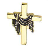 H.J. Sherman, Cross with Purple Robe Lapel Pin, Gold Plated, 7/8 x 1/2 inches