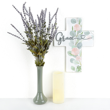 Grace Floral Wall Cross, MDF & Galvanized Metal, 14 x 10 x 3/4 inches
