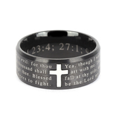 Spirit & Truth, Psalms Medley Logos, Men's Ring, Stainless Steel, Black, Sizes 8-12