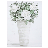 Flowers in Vase Canvas Wall Decor, White and Green, 24 x 18 x 1 1/2 inches