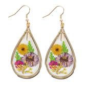 Faith in Bloom, Framed Teardrop with Gold Cross Charm Dangle Earrings, Zinc Alloy, Gold