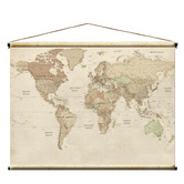Vintage World Map, Canvas Fabric, Cream and Tan, 46 x 36 inches