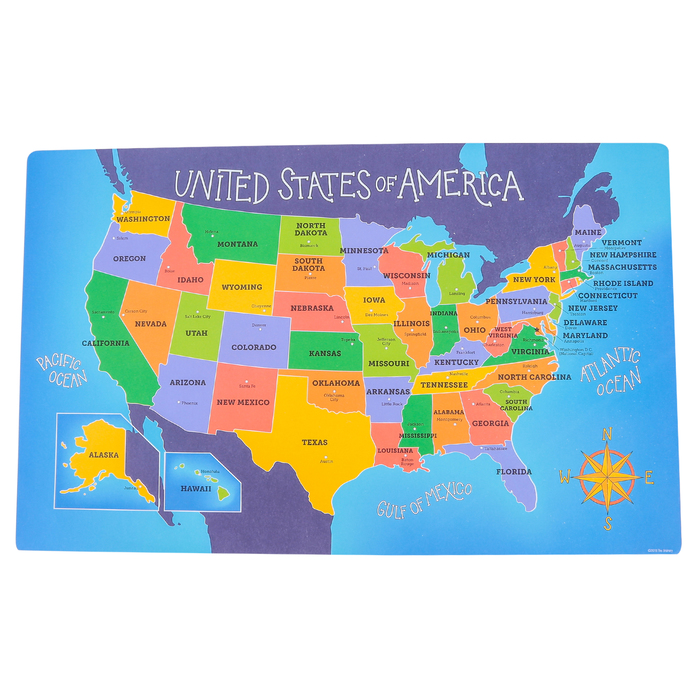 united states map with state names for kids The Brainery, USA Map Pad, Labeled, Paper, 16 x 10 Inches, Multi